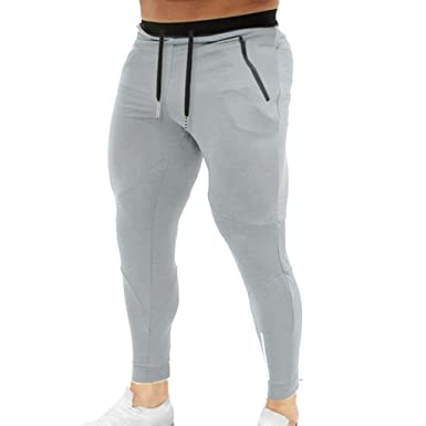 Pantalones Chandal de Hombre Moda Color Sólido Slim Fit Fitness ...