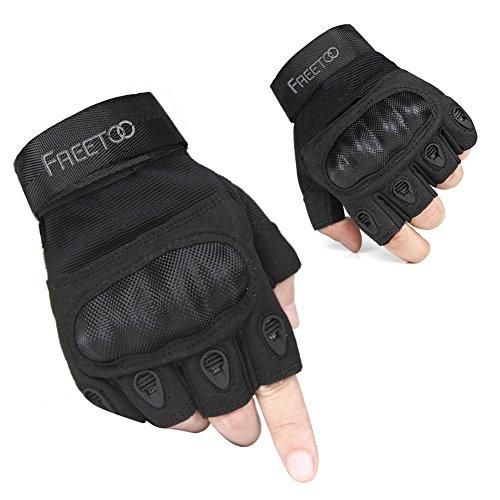 Half Finger Leather Gloves (FREETOO Tactical Gloves Military Rubber Hard Knuckle Outdoor Gloves for Men Half Finger Gloves Black (L))
