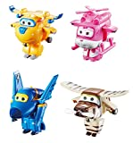 Super Wings US710620 Transform-a-Bots Donnie, Dizzy, Jerome, Bello, Toy Figures, 2' Scale