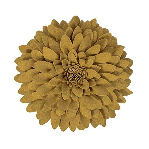 OiseauVoler 3D Flower Decorative Throw Pillows Handmade Round Accent Cushions Home Couch Chair Decor Yellow 13 x 13 Inch ()
