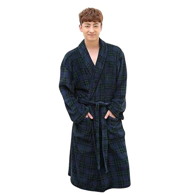 8f76661052 TiTa-Dong Mens Robes Kimono Bathrobe Terry Cloth Long Flannel Sleepwear   Amazon.ca  Clothing   Accessories