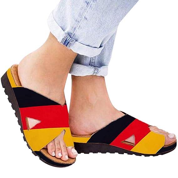 EUZeo_Zapatos Sandalias Mujer Verano 2019 Plataformas Tacon Cuña 5CM Chanclas Playa Fiesta Zapatillas Bandera Alemania Casual Correctoras Juanetes Sandals ...
