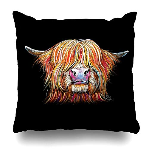 Ahawoso Throw Pillow Cover Square 20x20 Inches Highland Cow Charmer by Shirley MacArthur Decorative Pillow Case Home Decor Pillowcase