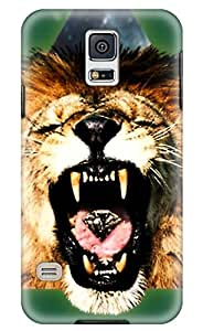 CaseandHome Triangle Angry Lion Design PC Material Hard Case for Samsung Galaxy S5
