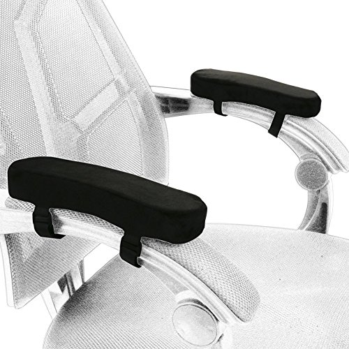 Office chair Arm rest pillow, Fushop armrest cushion for home chair & wheelchair, universal memory foam armrest pads, arm chair covers for forearm pressure relief (black set of 2) by Fushop