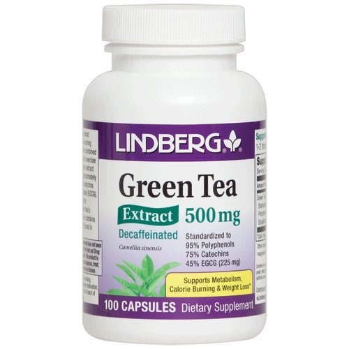 225 Mg 100 Capsules - Lindberg Green Tea Extract Decaffeinated 500 Mg - Standardized to 95% Polyphenols, 75% Catechins and 45% EGCG (225 Mg) (100 Capsules)