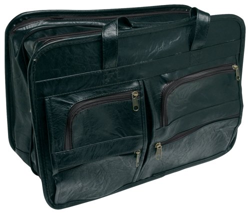 "RoadPro SEB-001BK 17"" x 12"" Black Leather-Like Soft-Sided Briefcase"