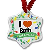 Personalized Name Christmas Ornament, I Love Bath region: South West England, England NEONBLOND
