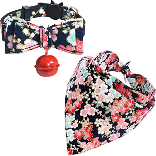 KZHAREEN Cat Collar and Bandana Set Collar Breakaway with Cute Bow Tie Bell Japanese Style Scarf Triangle Bibs Kerchief