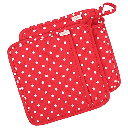 (NEOVIVA Cotton Quilted Heat Resistant Pot Holder for Daily Kitchen, Set of 2, Polka Dots Lollipop)