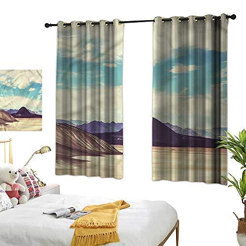 (Warm Family Landscape Insulated Sunshade Curtain Brazilian Plateau 70%-80% Light Shading, 2 Panels,72