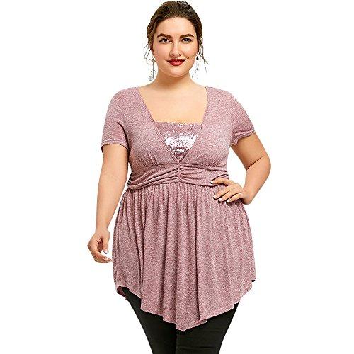 Nextmia Plus Size Sequined Trim Empire Waist T-Shirt for Women - Light Pink from Nextmia
