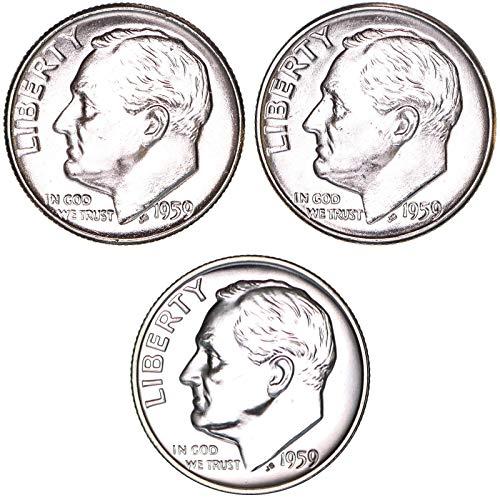 1959 P D Roosevelt Dime Year Set 90% Silver BU & Gem Proof 3 Coins