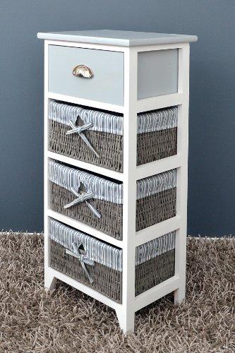 c moda en estilo antiguo armario para ba o estanter a en gris y blanco con un caj n y tres. Black Bedroom Furniture Sets. Home Design Ideas