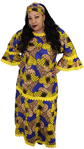 African Inspired Dresses (African Planet Women's Dress Queen Wedding Inspired Maxi with Gele headwrap (Blue and Yellow))