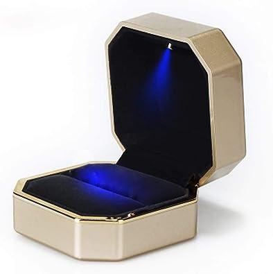 Caja de anillo de terciopelo con caja de regalo de exhibición de ...