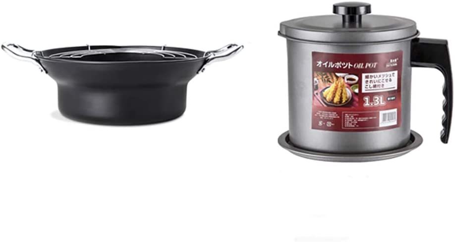 24CM Black Binaural Tempura Fryer with Filter Holder Gas Stove Induction Cooker Universal +1.3L Grey Oil Storage Pot (Size: 9.4 inches long x 3.3 inches high)