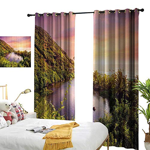 (Curtain tieback Landscape,Tropical India Goa Arambol Beach Sweet Lake with Forest Trees Scenery Artwork,Multicolor 84