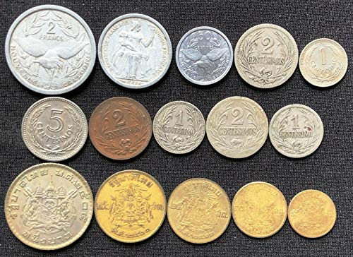 (15X FOREIGN COINS CALEDONIA, URUGUAY, THAILAND, VARIOUS DATES & DENOMINATIONS)