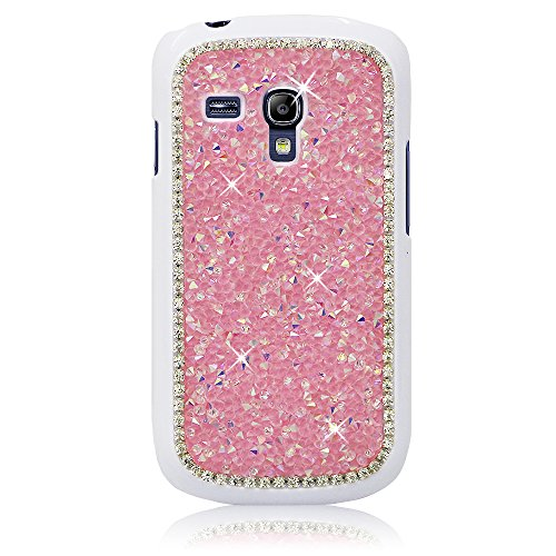 Xtra-Funky Case Compatible with Samsung Galaxy S3 Mini (i8190), Crystal Rhinestone Rocks Hard Cover with Sparkling Diamante Edging and Chrome Rim - Pink