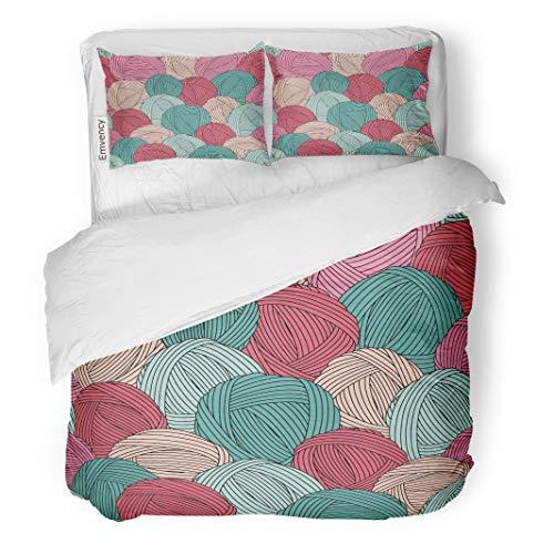(Semtomn Decor Duvet Cover Set Twin Size Teal Crochet Yarn Balls Pattern Blue Skein Hook Hank 3 Piece Brushed Microfiber Fabric Print Bedding Set Cover)