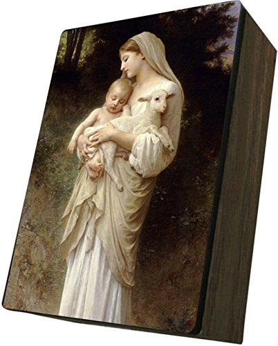 Catholic to the Max|L'Innocence Holding Jesus 4x6.5x2.5in Wooden Keepsake Rosary Jewelry Box, Suede Matte by Catholic to the Max