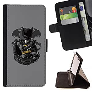 DEVIL CASE - FOR Sony Xperia Z1 L39 - Bat Superhero - Style PU Leather Case Wallet Flip Stand Flap Closure Cover
