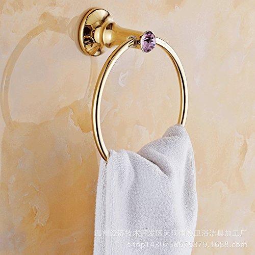 VU*LK European antique gold plated pink diamond rose gold towel ring , Golden (Ring Pink Antique Diamond)