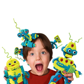 Child holding 5 robots