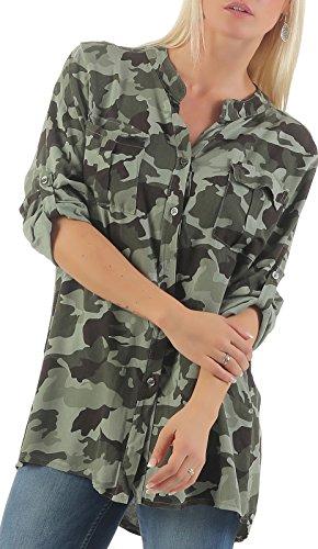 malito Blusa con Camuflaje-Print Túnica Parte Superior Top 3784 Mujer Talla Única oliva