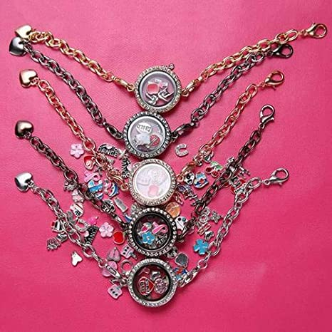 Hot New Silver Magnetic Crystal Living Memory Locket Bracelet Floating Charms