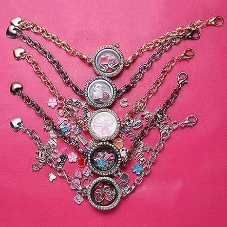 Hot New Silver Magnetic Crystal Living Memory Locket Bracelet Floating Charms
