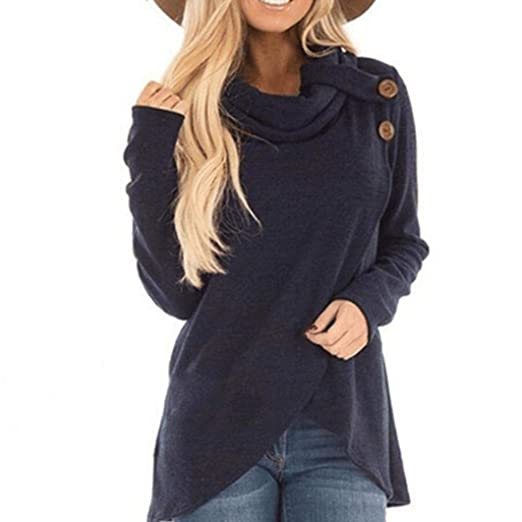 Blusa Mujer Elegante, ❤ Modaworld Sudadera sólida Casual de Manga Larga para Mujer otoño Invierno Blusa Superior del Jersey Camisetas Mujer Tops Vestir: ...