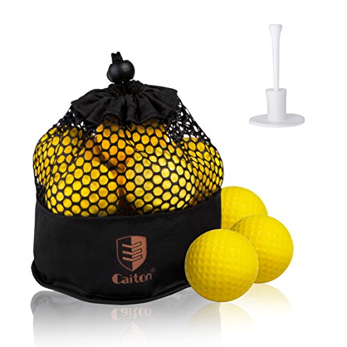 Caiton Golf Balls Practice, Practice Balls Soft Foam with Indoor Golf Tee Yellow One Dozen by Caiton