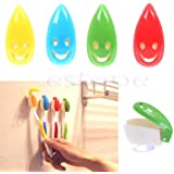 (4pc Smile face) - 4 PCS Smile Face Antibacterial Toothbrush Cover Holder with Suction Cup Bath