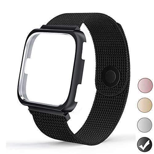 REYUIK Compatible with Versa Bands with Frame,Stainless Steel Mesh Breathable Metal Wristband with Protective Case Bumper Accessories for Women Men (Black, Small 5.3