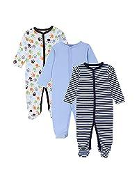 JIAJIA Newborn Baby Boys Girl Cotton Footed Sleeper Pajama Onesies 3 Pack