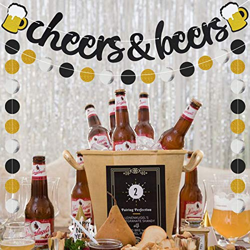 Cheers & Beers Banner Black Glittery Circle Dots Garland(57 pcs circle dots),Birthday Wedding Anniversarty Graduation Bachelorette Bridal Shower Engagement Retirement Baby Shower Hawaii Party -