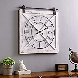FirsTime & Co. 31080 Farmstead Barn Door Wall Clock, 29 H x 27 W, Whitewash, Metallic Gray, Black
