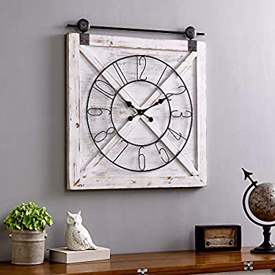 """FirsTime & Co. Farmstead Barn Door Wall Clock, 29""""H x 27""""W, Whitewash, Metallic Gray, Black - SIZE MATTERS – Our FirsTime & Co. Farmhouse Barn Door Wall Clock has a 29"""" height, 27"""" width and 2"""" depth, making it a great size for the home or office. IT'S IN THE DETAILS – This square clock is crafted of wood, with metal casters and an open, wrought iron face. The whitewashed finish makes it a perfect addition to any rustic farmhouse décor. HANG IN THERE – This clock is designed to be hung on the wall. Hanging hardware not included. - wall-clocks, living-room-decor, living-room - 51ojIIG57IL. SS400  -"""