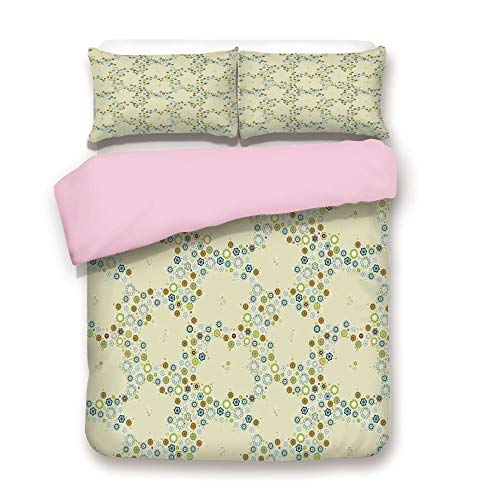 iPrint Pink Duvet Cover Set,King Size,Ornament of Decorative Medallion Shapes Bordered with Small Wildflowers,Decorative 3 Piece Bedding Set with 2 Pillow Sham,Best Gift for Girls ()