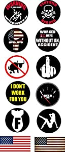 Work Hard Hat Helmet Stickers 12PC Decals Toolbox Best Selling Funny Construction Worker Mechanic Value Pack