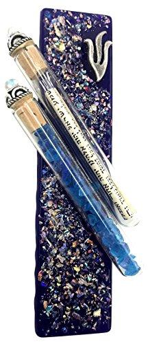 Tamara Baskin Art Glass Wedding Mezuzah - Gift Box and Non-Kosher Scroll Included - Hand Made in the USA (Blue)