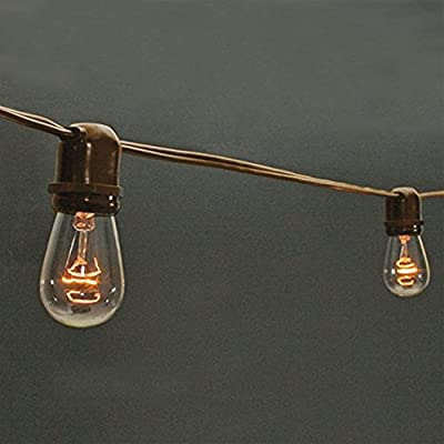 Commercial Grade Globe String Lights, 48 Foot Strand, S14 Clear Bulbs, Edison Bulb, Outdoor, Tent, Patio, Long Term, Year Round, Restaurant, Cafe, Bistro,, Venue, Wedding, (Brown Wire) (Clear Bulb)