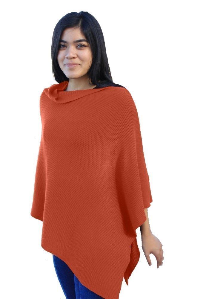 Emji 100% Cashwool® Merino Wool Ribbed-Knit Poncho, Luxury Pullover Poncho with 2x1 Rib Knit Pattern, Pumpkin Orange