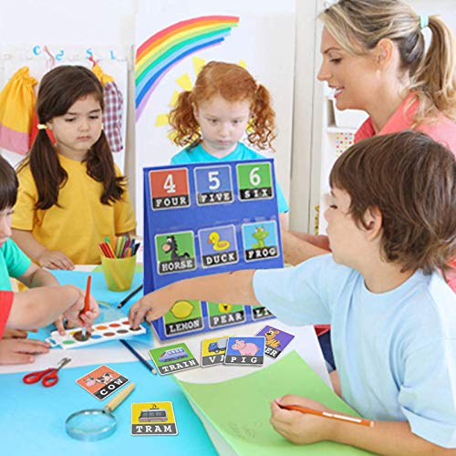 Abilieauty Desktop Pocket Chart Teaching Double-sided Self-standing Foladble for Classroom