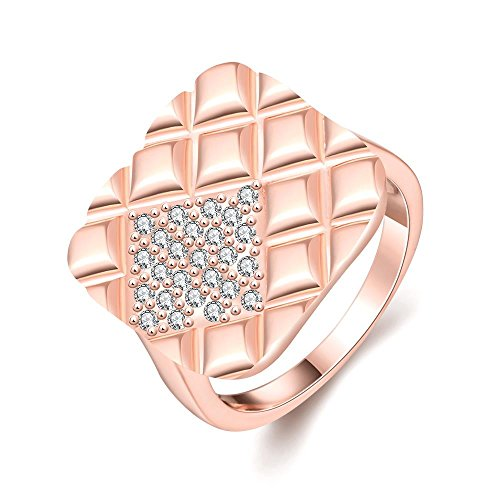 [Unique Square Shape Rose Gold Plated Cubic Zirconia Ring Trendy Rings - Cloud Treasures] (1920s Halloween Costumes Antique)