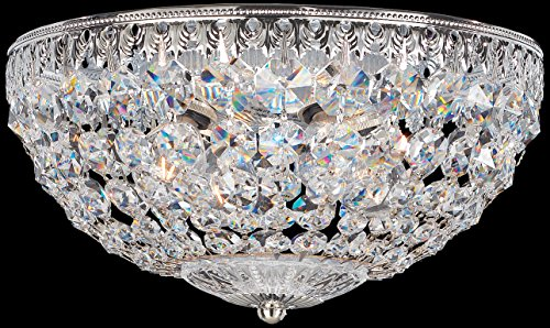 Schonbek 1560-76A Swarovski Lighting Petit Crystal Flush Mount Lighting Fixture, Heirloom Bronze Crystal Petite Lamp