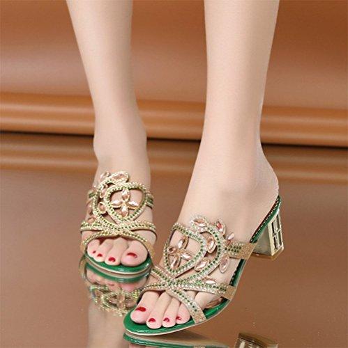 Sandales Cool C baises Pantoufles D'été Talons Fashion Dames Weiwei Hauts SLq3R54Acj