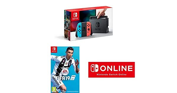 Nintendo Switch Neon Red/Blue with Fifa 19 (cartridge) and 1 year ...